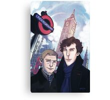 Sherlock and John in London Canvas Print