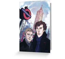Sherlock and John in London Greeting Card