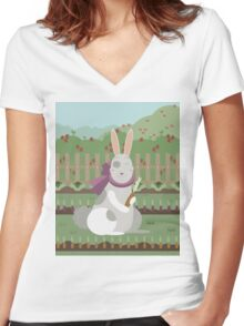rabbit with a carrot Women's Fitted V-Neck T-Shirt