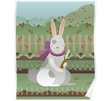 rabbit with a carrot Poster