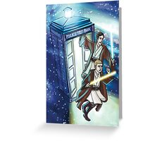 Sherlock and John - Jedi in the Tardis Greeting Card