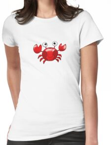 Cute red crab cartoon Womens Fitted T-Shirt