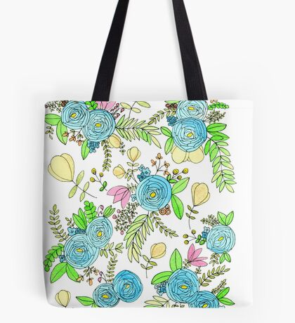 Blue Wild Flowers Tote Bag