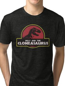Billy and the Cloneasaurus shirt – The Simpsons, Jurassic World, Jurassic Park, Homer Simpson Tri-blend T-Shirt