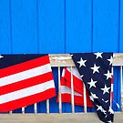 Old Bench, Flag, Ellsworth, Maine by fauselr