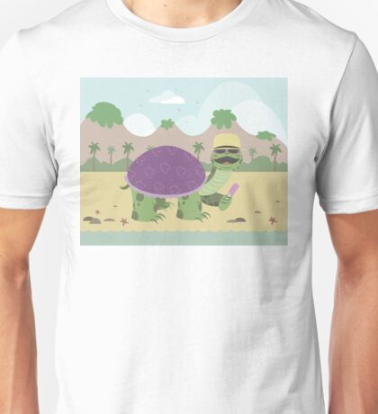 Turtle on a beach eating ice cream Unisex T-Shirt