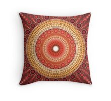 Red Star Mandala Throw Pillow