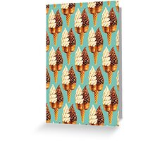 Twin Cone Pattern - Teal Greeting Card