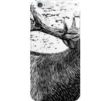 Woodcut Bull Elk iPhone Case/Skin