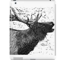 Woodcut Bull Elk iPad Case/Skin