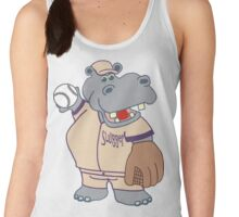 Slugger: the Cute, Funny Baseball or Softball Playing Hippo Women's Tank Top