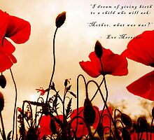 I Dream of Peace - Red Poppies at Sunset by simpsonvisuals