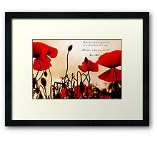 I Dream of Peace - Red Poppies at Sunset Framed Print