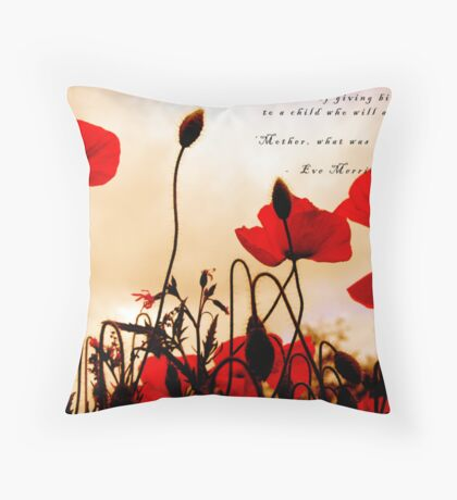 I Dream of Peace - Red Poppies at Sunset Throw Pillow