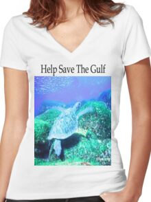 Help Save The Gulf Women's Fitted V-Neck T-Shirt