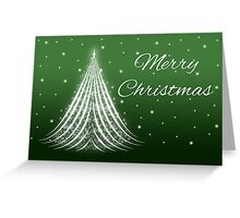 Glowing White Christmas Tree On Green Greeting Card
