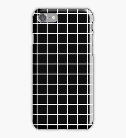 Grid Line Iphone 6 Case   White on Black iPhone Case/Skin