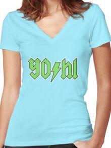 YO/HI (c) Women's Fitted V-Neck T-Shirt