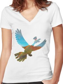 Ho-oh used fly Women's Fitted V-Neck T-Shirt