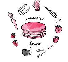 Fraise macaron print by FashionDoodles