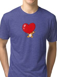 orange cat with a big red heart Tri-blend T-Shirt