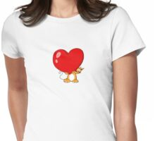 orange cat with a big red heart Womens Fitted T-Shirt