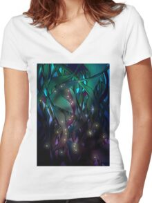 Nocturne (with Fireflies) Women's Fitted V-Neck T-Shirt
