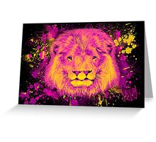 Neon Splatter Two-Mouthed Lion Greeting Card