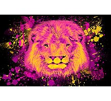 Neon Splatter Two-Mouthed Lion Photographic Print