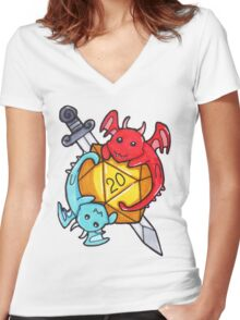 Dice Dragons Women's Fitted V-Neck T-Shirt