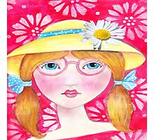 Whimisical Girl with Yellow Hat Photographic Print