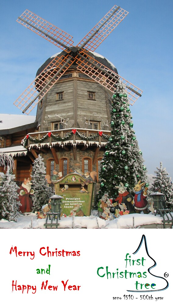 Christmas Holiday Card 5541V - Santa's Windmill LIDO Riga Latvia by FirstTree