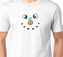 Funny winter white snowman with snowflake Unisex T-Shirt