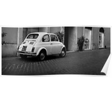 Vintage Fiat 500 Rome Italy Black and White Poster
