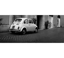 Vintage Fiat 500 Rome Italy Black and White Photographic Print