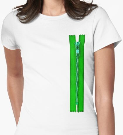Zipped Womens Fitted T-Shirt