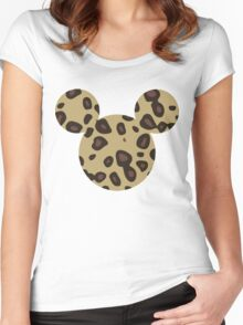 Mouse Leopard Patterned Silhouette Women's Fitted Scoop T-Shirt