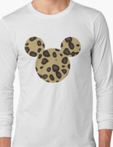 Mouse Leopard Patterned Silhouette Long Sleeve T-Shirt