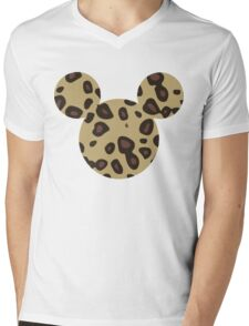 Mouse Leopard Patterned Silhouette Mens V-Neck T-Shirt