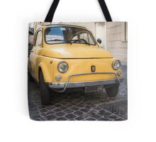 Vintage Yellow Fiat 500 in Rome Tote Bag