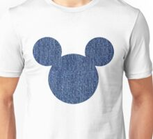 Mouse Denim Patterned Silhouette Unisex T-Shirt