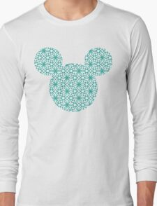 Mouse Turquoise Geometric Silhouette Long Sleeve T-Shirt