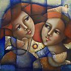 Two girls in blue by marostega