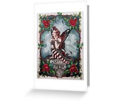 Drusilla gothic, steampunk style red rose fairy faerie, fantasy, elf Greeting Card