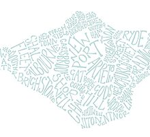 Isle of Wight area text map in Duck Egg Blue by BlueToolips