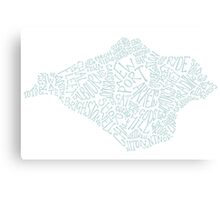 Isle of Wight area text map in Duck Egg Blue Canvas Print