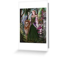 Queen of lions fairy fantasy,medieval lady  Greeting Card