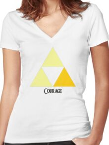 Triforce of Courage Women's Fitted V-Neck T-Shirt