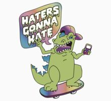 """Haters Gonna Hate"" Reptar (white) One Piece - Long Sleeve"