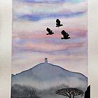 Lapwings over Glastonbury. by Robert David Gellion